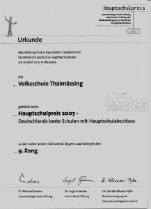 Urkunde Hauptschulpreis