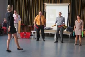...sondern auch die Lehramtsanwärterin! Die Bürgermeister Küttinger und Beyer, sowie Anke Eitel und Schulleiter Misoph musizierten nach ihrer Pfeife!